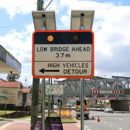 LED enhancement Low Bridge Road Sign